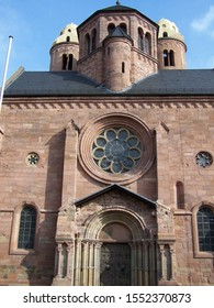 The west entrance of the Romanesque church of St Paul with unusual medieval towers. It was first constructed in the early 11th century CE to replace a castle on the same site. City of Worms, Germany.
