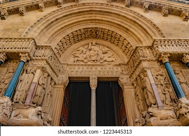 West facade of the Saint Trophime Cathedral in Arles, France. Bouches-du-Rhone, France