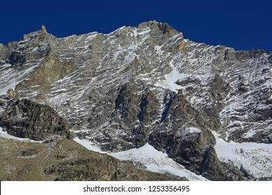 West Face of the Weisshorn, one of the great summits in the Alps. In the Val d'Anniviers, Switzerland