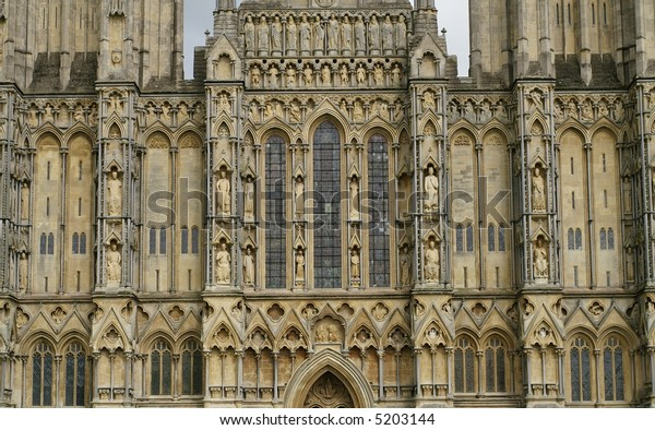 The west font of Wells Cathedral in Somerset, England. Horizontal.