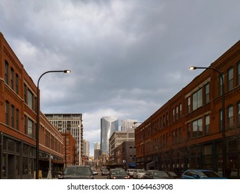 West Fulton Market. Chicago, USA. A popular street located in the West Loop neighborhood with views of River Point and other downtown highrises.