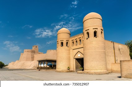 The West Gate of Itchan Kala in Khiva, a UNESCO heritage site in Uzbekistan