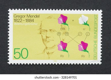 WEST GERMANY - CIRCA 1984: a postage stamp printed in West Germany showing an image of Gregor Mendel, circa 1984.