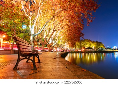 West Lake(xihu), Hangzhou, China.West Lake is a famous tourist attraction in China.Autumn night scene.