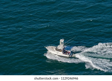 WEST HEAD, AUSTRALIA - OCTOBER 15, 2016: A Topaz 40 leisure fishing boat returning to the Hawkesbury River estuary at West Head.