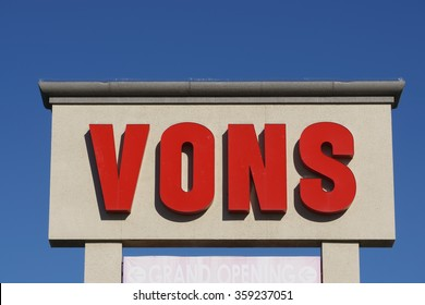 WEST HILLS, CA/USA - DECEMBER 31, 2015: Vons Grocery store sign and logo. Vons is a supermarket chain and a division of Safeway, Inc.
