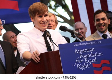 WEST HOLLYWOOD - AUG 5: Dustin Lance Black speaking at the Day Of Decision rally in West Hollywood, CA on August 5, 2010.