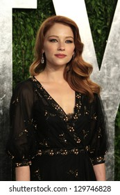 WEST HOLLYWOOD, CA - FEB 24: Haley Bennett at the Vanity Fair Oscar Party at Sunset Tower on February 24, 2013 in West Hollywood, California