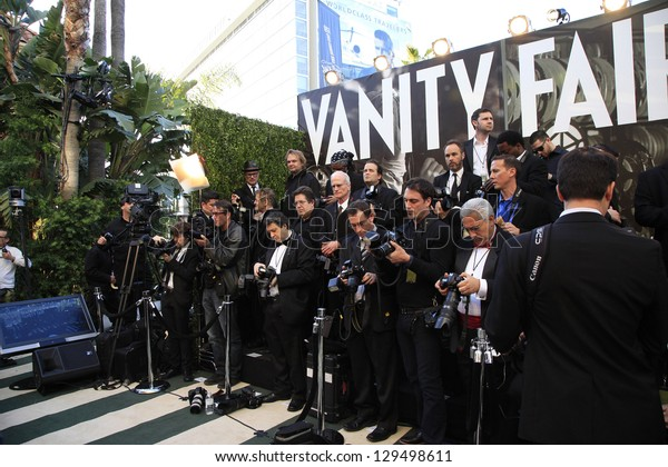 WEST HOLLYWOOD, CA - FEB 24: Media at the Vanity Fair Oscar Party at Sunset Tower on February 24, 2013 in West Hollywood, California