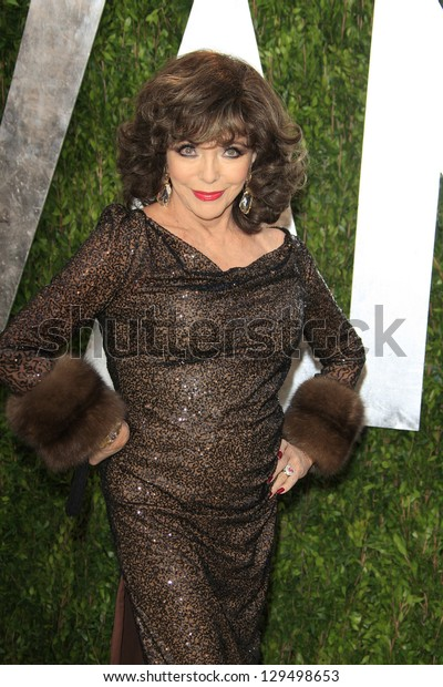 WEST HOLLYWOOD, CA - FEB 24: Joan Collins at the Vanity Fair Oscar Party at Sunset Tower on February 24, 2013 in West Hollywood, California