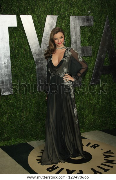 WEST HOLLYWOOD, CA - FEB 24: Miranda Kerr at the Vanity Fair Oscar Party at Sunset Tower on February 24, 2013 in West Hollywood, California