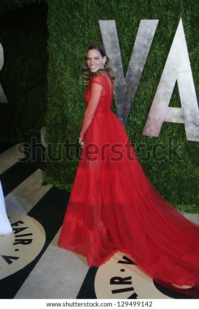 WEST HOLLYWOOD, CA - FEB 24: Hilary Swank at the Vanity Fair Oscar Party at Sunset Tower on February 24, 2013 in West Hollywood, California