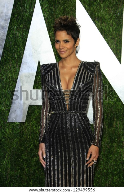 WEST HOLLYWOOD, CA - FEB 24: Halle Berry at the Vanity Fair Oscar Party at Sunset Tower on February 24, 2013 in West Hollywood, California