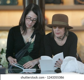 West Hollywood, CA, USA, 03-13-2007 Diane Keaton out shopping with a friend wearing a brown hat.