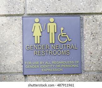 West Hollywood, CA, USA, September 23, 2016: Gender Neutral bathroom sign.