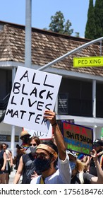 West Hollywood, CA/USA - June 14, 2020: People attend the All Black Lives Matter march in West Hollywood.