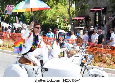 West Hollywood, CA/USA - June 9, 2019: Tom Sandoval and Tom Schwarts attend the 2019 LA Pride Parade.