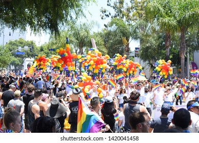 West Hollywood, CA/USA - June 9, 2019: Thousands of people attend the 2019 LA Pride Parade.