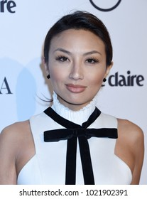 "WEST HOLLYWOOD - JAN 11:  Jeannie Mai arrives to the 2018 Marie Claire ""Image Makers Awards""  on January 11, 2018 in West Hollywood, CA"