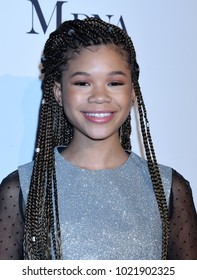 """WEST HOLLYWOOD - JAN 11:  Storm Reid arrives to the 2018 Marie Claire """"Image Makers Awards""""  on January 11, 2018 in West Hollywood, CA"""