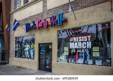 West Hollywood, USA-June 4, 2017: gay business shopfront on Santa Monica Boulevard in West Hollywood, Los Angeles