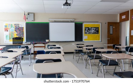 West Islip, New York, USA - 3 June 2020: High school classroom in New York is still empty after months of no classes due to the Covid-19 Coronavirus pandemic.