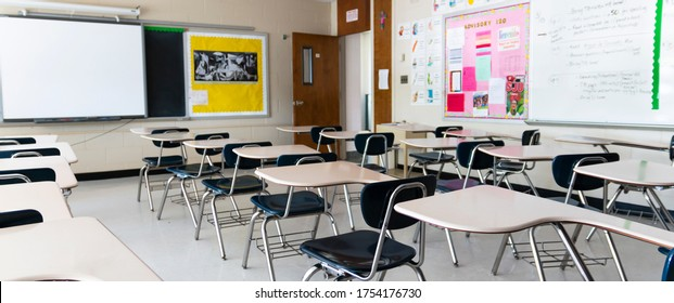 West Islip, New York, USA - 3 June 2020: A high school classroom left as it was with no students or teachers since March because New York shutdown the schools due to Cotonavirus COVID-19 pandemic.