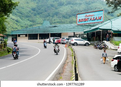 West Java, Indonesia - April 27, 2019: Restaurant Rindu Alam, Puncak Pas, Bogor, Indonesia.