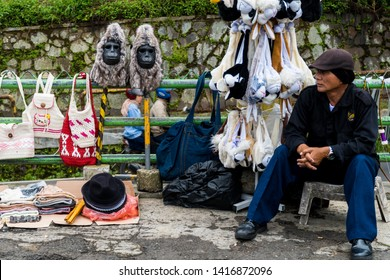 West Java, Indonesia - April 27, 2019: Street vendors of souvenirs around Puncak Pas, West Java, Indonesia.