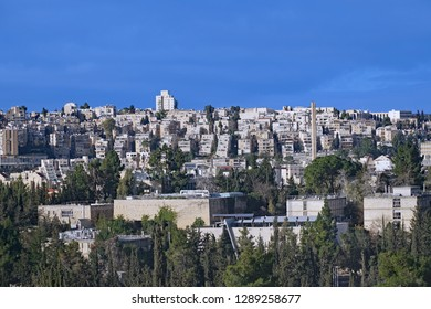 West Jerusalem hillside skyline with modern apartment buildings and Givat Ram campus of Hebrew University in the foreground