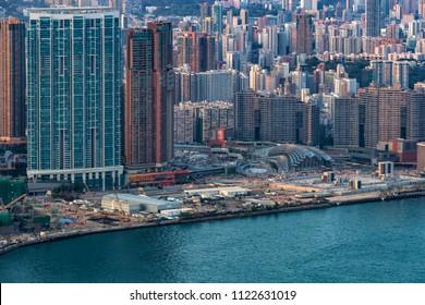 West Kowloon, Hong Kong  - April 05, 2018 :  Aerial view of Construction site of  Hong Kong West Kowloon Station
