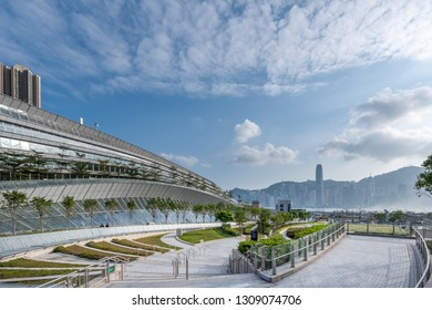 West Kowloon, Hong Kong FEB 04, 2019 : Hong Kong West Kowloon Station. It is the only station in the Hong Kong section and connects to the mainland China section through a dedicated tunnel.