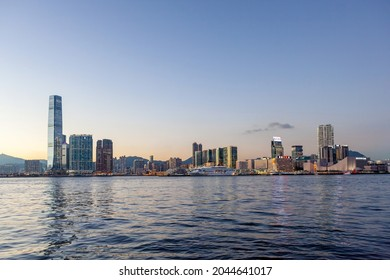 West Kowloon, Hong Kong - Jun 23, 2016: A beautiful panoramic Victoria Harbour view of West Kowloon, Mong Kok and Tsim Sha Tsui