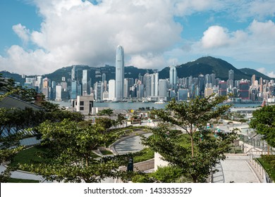 West Kowloon, Hong Kong - June 05, 2019 : Hong Kong West Kowloon Station. It is the only station in the Hong Kong section and connects to the mainland China section through a dedicated tunnel.