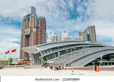West Kowloon, Hong Kong November 01, 2018 : Hong Kong West Kowloon Station. It is the only station in the Hong Kong section and connects to the mainland China section through a dedicated tunnel.