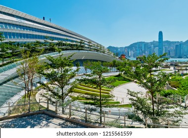 West Kowloon, Hong Kong October 29, 2018 : Hong Kong West Kowloon Station. It is the only station in the Hong Kong section and connects to the mainland China section through a dedicated tunnel.