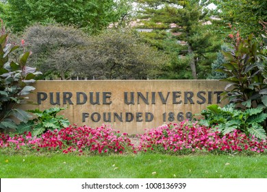 WEST LAFAYETTE, IN/USA - OCTOBER 22, 2017: Entrance Sign on the campus of the Purdue University.