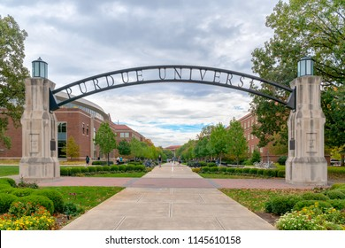 WEST LAFAYETTE, IN/USA - OCTOBER 22, 2017: Entrance gate and walkway on the campus of the Purdue University.