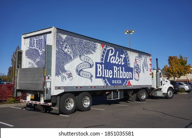 West Linn, OR, USA - Oct 28, 2020: A Pabst Blue Ribbon branded delivery truck is seen in a parking lot in West Linn, Oregon. Pabst Blue Ribbon is an American lager beer sold by Pabst Brewing Company.