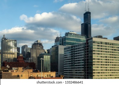 West Loop, Chicago-March 3, 2019: Many companies are located in the Near West side neighborhood, such as Citibank, Boeing, UBS, McClaren, gogo, and United Airlines in the Willis Tower.