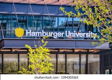 West Loop, Chicago-May 4, 2019: The front entrance door to Hamburger University, McDonald's Corporate Headquarters located on the Near West Side. Main street in Chicago. Illinois business.