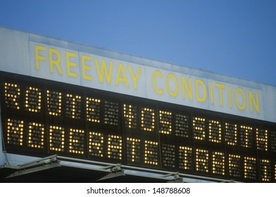WEST LOS ANGELES, CA - CIRCA 1990's: A sign indicating the 405 freeway conditions in West Los Angeles, CA