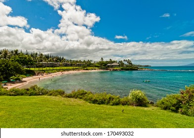 West Maui's famous Kaanapali beach and sourrounding resorts area. Hawaii, USA