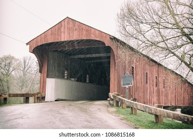 """The West Montrose Covered Bridge, also known as the """"Kissing Bridge"""", the oldest and last wooden covered bridge in the province of Ontario, Canada. Crossing the Grand river, it was built in 1880."""