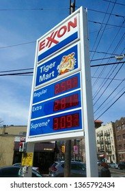 West New York, NJ - March 24 2019: An Exxon sign with gas prices