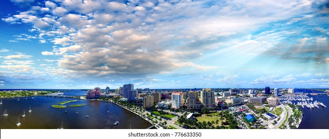 West Palm Beach, aerial view on a sunny day.