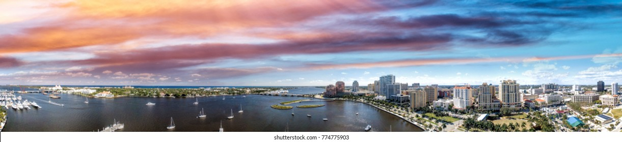 West Palm Beach Coastline in Florida, USA. Panoramic view at sunset.