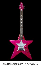 WEST PALM BEACH, FL - MARCH 1, 2014: Daisy Rock guitars for girls.  The pickup configuration on this guitar was only used for the first 100 made.  50 in purple, 50 in pink, making this a rare guitar.