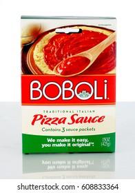 West Palm Beach, FL - March 25, 2017:  A box of Boboli pizza sauce packets. The Boboli brand is part of the Bimbo Bakeries USA family