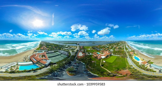 WEST PALM BEACH, FL, USA - MARCH 4, 2018: Mar a Lago aerial spherical panoramic image West Palm Beach